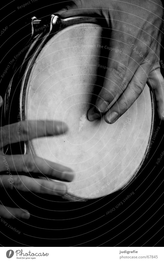 Sound 4 Hand Fingers Man Percussion instrument Beat Rhythm Black White Music Musical instrument percussion Emotions