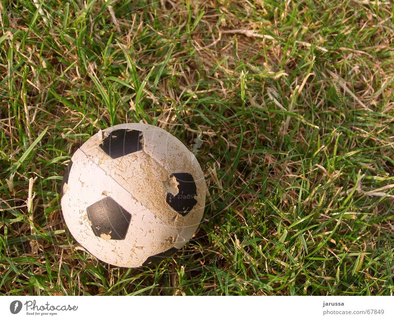 End of game Grass Green White Straw Round Ball Thin Earth Patch Shadow Foot ball 1 Sphere Old Shabby Small Foam rubber Plastic Deserted Bird's-eye view
