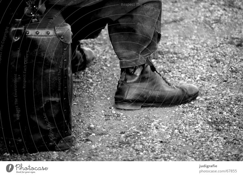 Man Old White Calm Black Relaxation Footwear Wait Time Sit Long Pants Stage play Suitcase Seating Patient