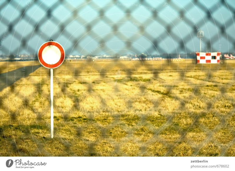 tegel Spring Sky Landscape Light Nature Sun wallroth Airport Berlin-Tegel Trajectory Runway Fence Wire netting fence Bans Signs and labeling Passage Horizon