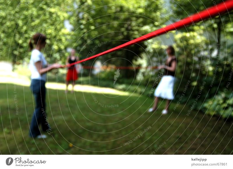 Human being Tree Red Summer Garden Lawn Connection Curve Relationship Sewing thread Orientation Sewing Knit Handcrafts Zigzag Handbook