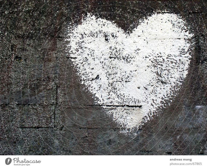 White Heart Gray Wall (barrier) Love Emotions Romance grey Stone Old Crack & Rip & Tear cracks bricks feel romantic rocks young Sign Valentine's Day