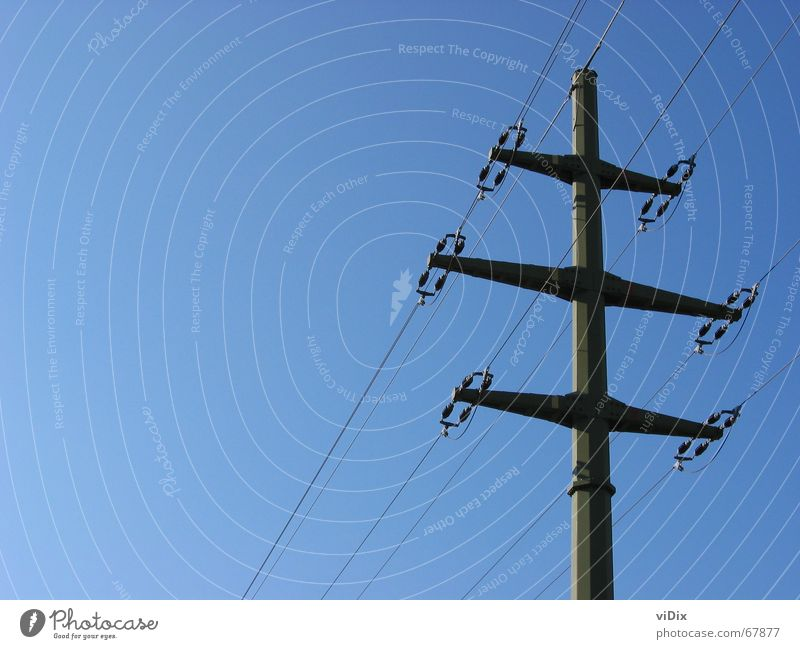 Blue electricity Electricity Electricity pylon Provision Exterior shot Sky Clarity Bright Energy industry Transmission lines Technology abstraction Simple
