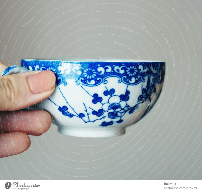 a good cup .. Crockery Style Design Decoration Kitchen Fingers Kitsch Odds and ends Drinking Blue Gray Pink White To enjoy Coffee cup Coffee break Tea Tea cup