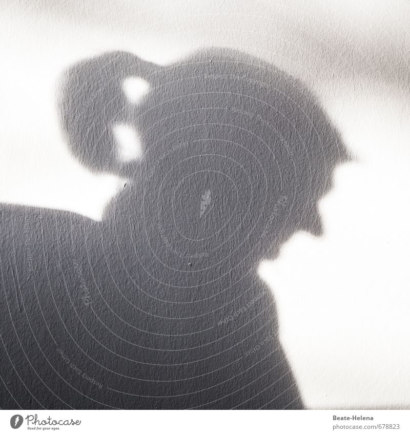 demonic shadow plays Hair and hairstyles Exceptional Gloomy Feminine Black White Loneliness Profile Shadow play Silhouette Shadowy existence Devil Half-profile