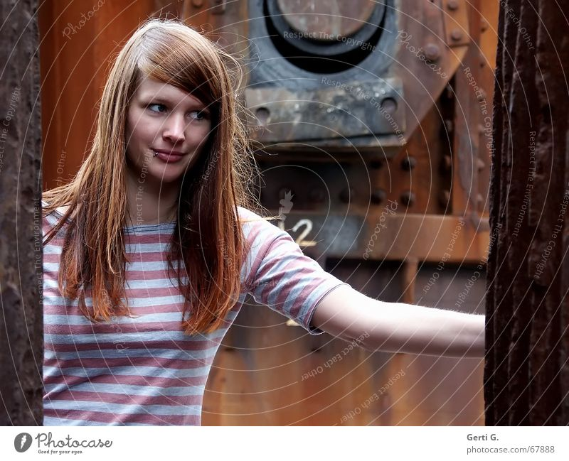 Woman Human being Beautiful Face Hair and hairstyles Arm Wind Perspective To hold on Derelict Rust Facial expression Long-haired Piercing Screw Red-haired