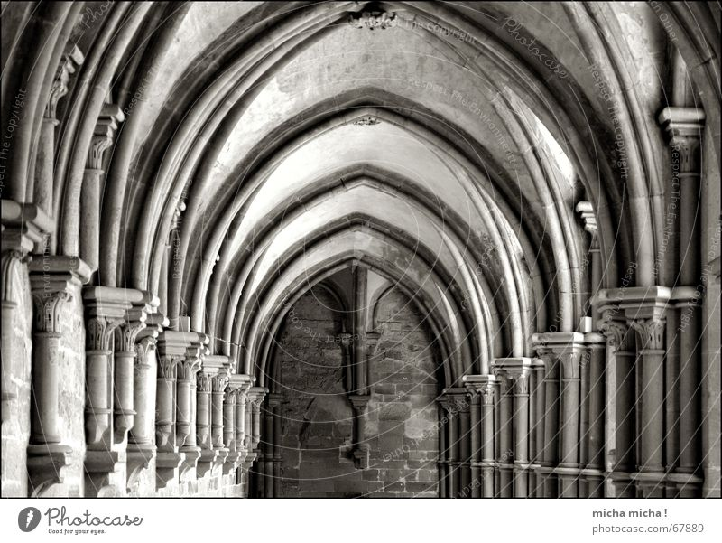In the middle lies the silence Calm Maulbronn monestary Relaxation Prayer Symmetry Middle Monastery Black & white photo Arcade Arch Column