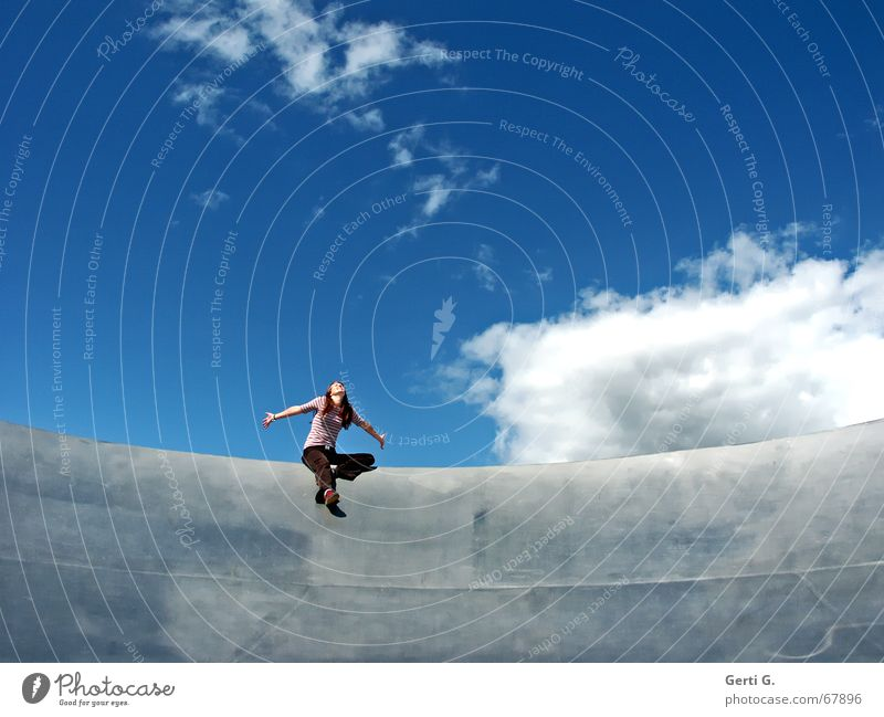 Woman Sky Joy Clouds Emotions Freedom Happy Bowl Long-haired Embrace Red-haired Sky blue Young woman Satellite dish Edge of a plate Silver gray