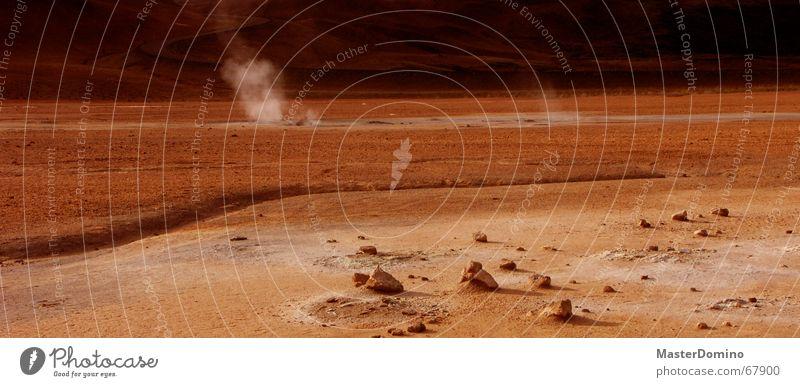 Mars Road Planet Martian landscape Red Stone Gravel Sulphur Astronautics Exterior shot Desert Universe Rock Sand Fragment Steam Smoke hostile to life Sky Street