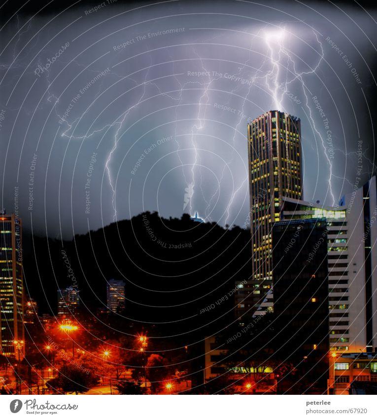 Ligthing Bogota - Colombia Town Bogotá colombia pictorial photomontaje noche tormenta torre colpatria