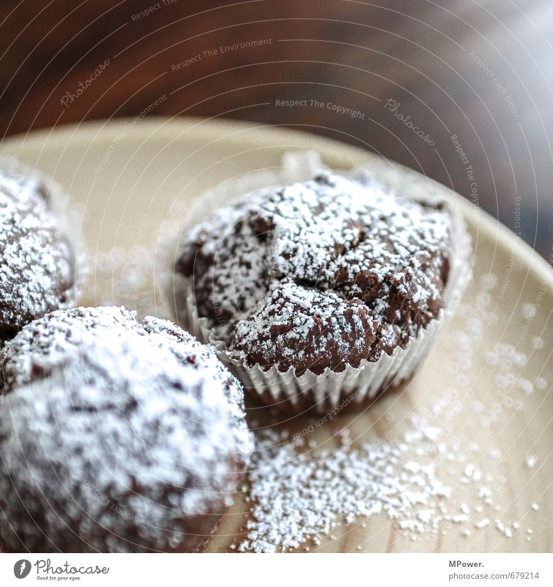 muffin Food Dough Baked goods Cake Chocolate Nutrition Crockery Plate Healthy Brown Orange Muffin Confectioner`s sugar Sugar Wooden table Fresh Edge of a plate
