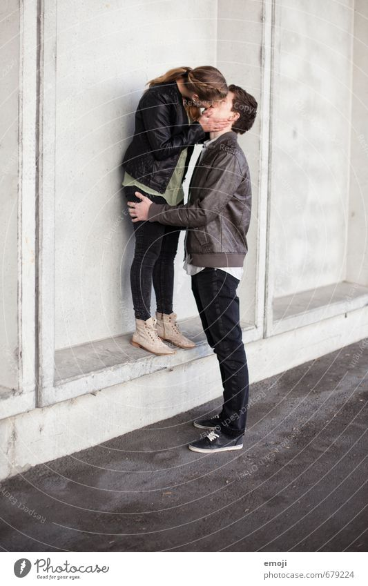 SECOND Masculine Feminine Young woman Youth (Young adults) Young man Couple 2 Human being 18 - 30 years Adults Gray Kissing Lovers Intimacy Near Colour photo