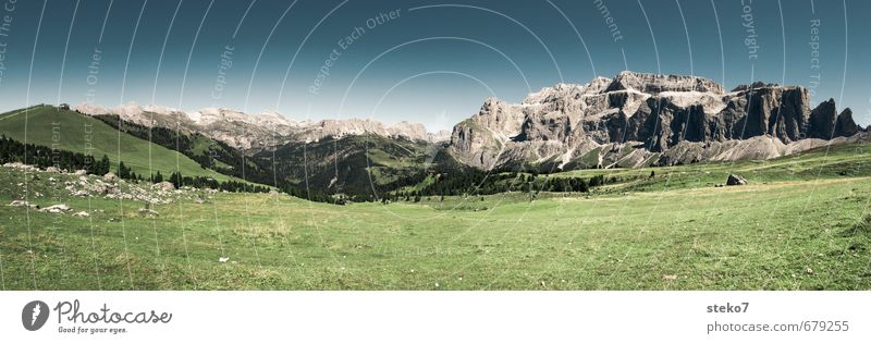 clear Cloudless sky Summer Meadow Alps Mountain Relaxation Hiking Horizon Idyll Calm Far-off places Dolomites Colour photo Exterior shot Deserted Copy Space top