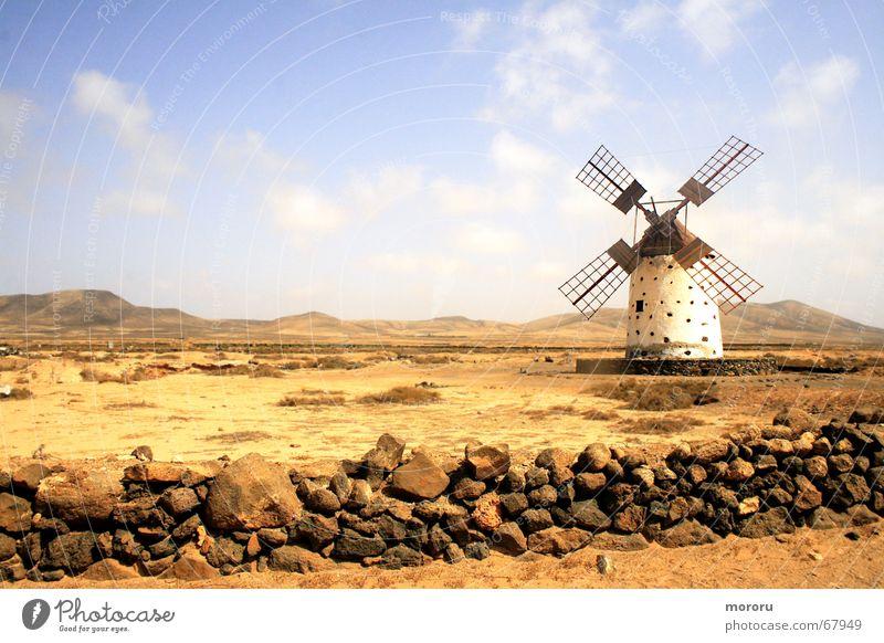 Old Loneliness Landscape Desert Shabby Badlands Fuerteventura Windmill Mill