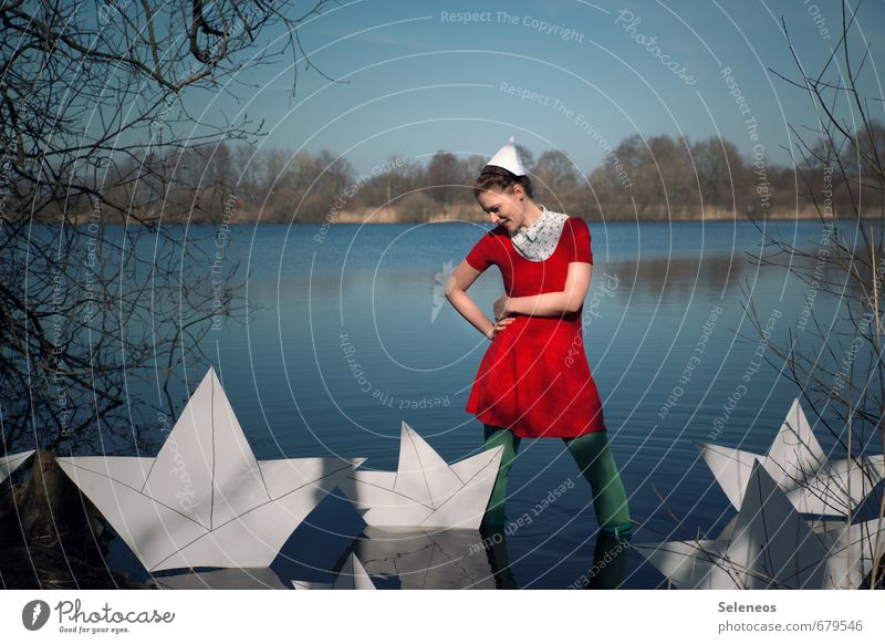 sinking ships Vacation & Travel Trip Adventure Far-off places Freedom Human being Feminine Woman Adults 1 Autumn Coast Lakeside River bank Navigation