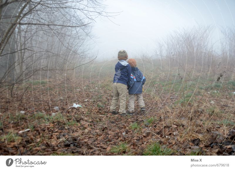 Two in the fog / Afterwards the camera was down... :-( Trip Adventure Human being Child Brothers and sisters Friendship 2 1 - 3 years Toddler 3 - 8 years