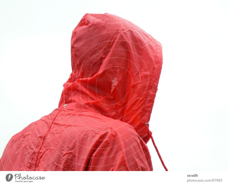 Is it raining? Rain jacket Little Red Riding Hood Uncomfortable Human being Droop Regrettable Rain cape Jacket Wet Cold Loneliness Hooded (clothing) Man Autumn