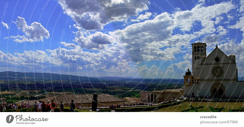 Sky Tree Summer Clouds Far-off places Mountain Religion and faith Field Large Tower Kitsch Italy Panorama (Format) House of worship Basilica Assisi