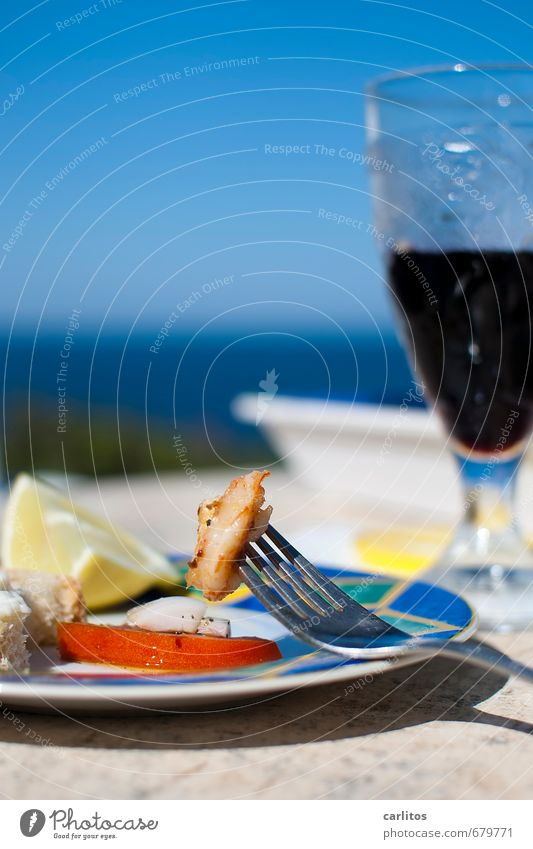 Light food in the pc retirement home Cloudless sky Summer Relaxation Ocean Horizon Blue Plate Fork Shrimps Tomato Lemon Bread allioli Glass Wine Senior citizen