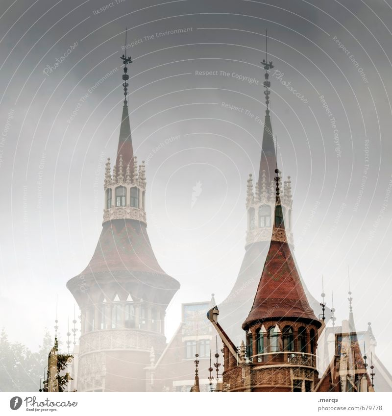 casa Sky Storm clouds Barcelona Spain Church Manmade structures Architecture Exceptional Perspective Surrealism Spire Colour photo Exterior shot Abstract