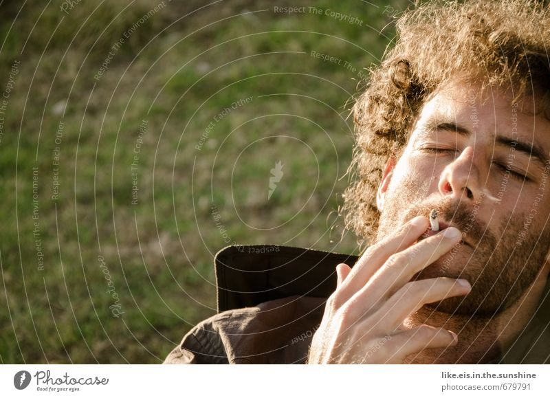 Smoking break. Lifestyle Healthy Well-being Contentment Senses Relaxation Leisure and hobbies Camping Summer Masculine Young man Youth (Young adults) Man Adults