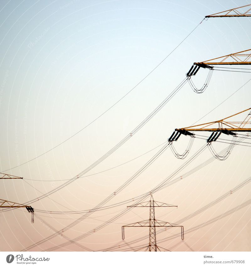 surveying Technology Advancement Future Information Technology Energy industry High voltage power line Electricity pylon Power transmission Sky Cloudless sky