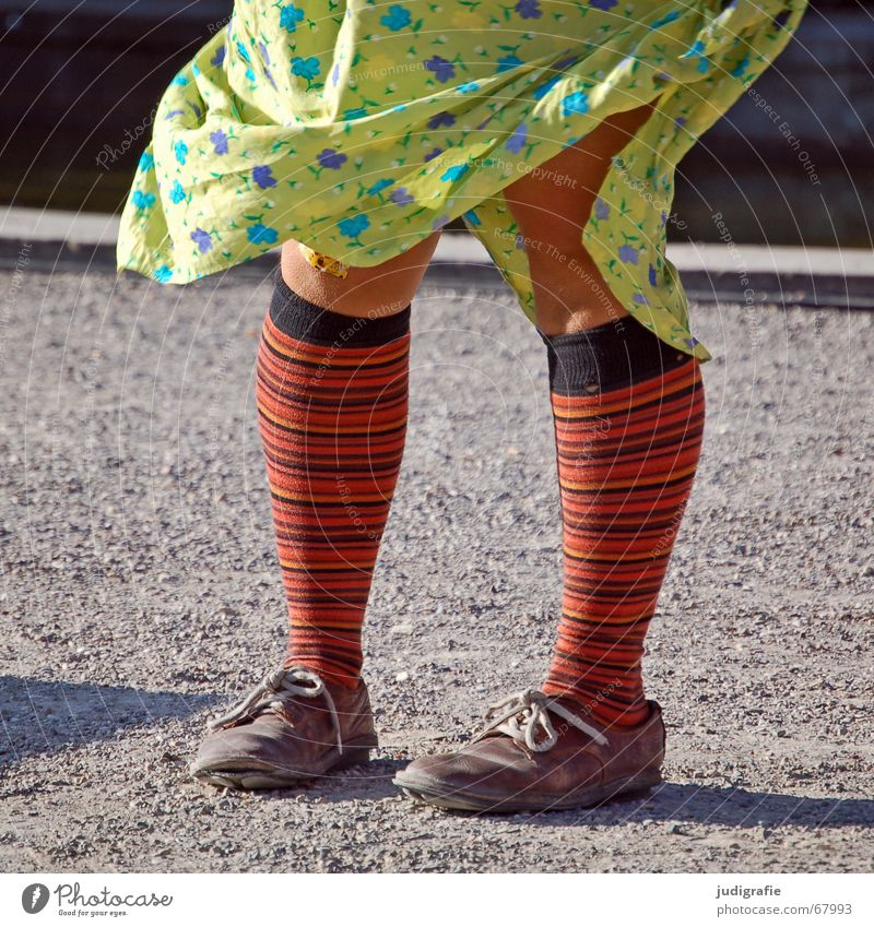 Curled Striped Woman Girl Dress Stockings Sock Multicoloured Footwear Knee Floral Human being Old Legs Feet Stage play cabaret Movement Dynamics