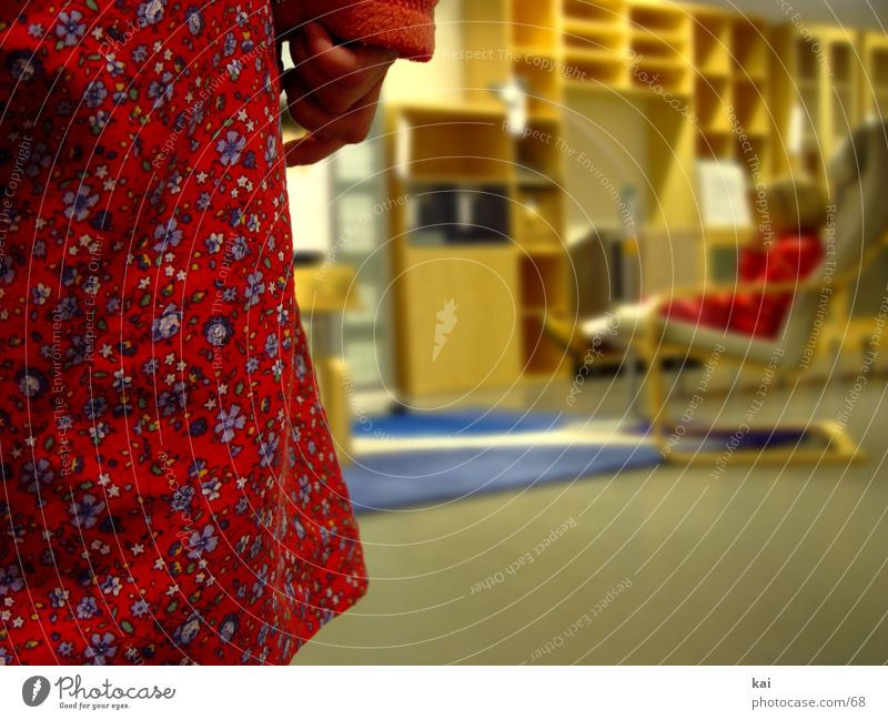 girl Girl Red Human being Flowery pattern Section of image Shallow depth of field Approach Cloth pattern