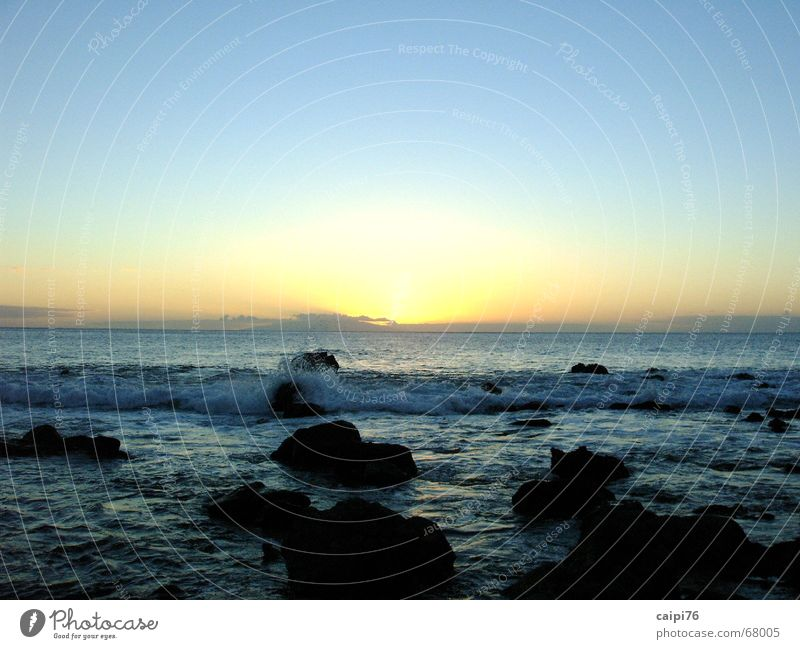 Sunset on Gomera Ocean Waves Coast Vacation & Travel Beach Water Evening Dusk Stone Sky Blue Sadness
