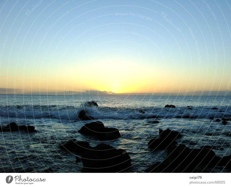 Water Sky Ocean Blue Beach Vacation & Travel Stone Sadness Waves Coast Dusk