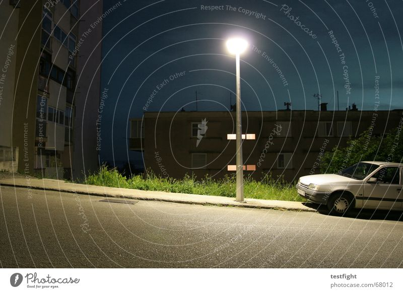 City Loneliness Street Lamp Dark Car Concrete Crazy Floor covering Lantern Sidewalk Parking Tar