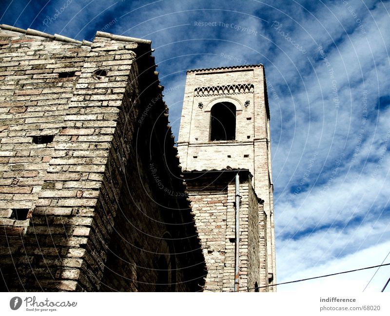 Bell Tower Sky church building medieval town clouds historycal Monument