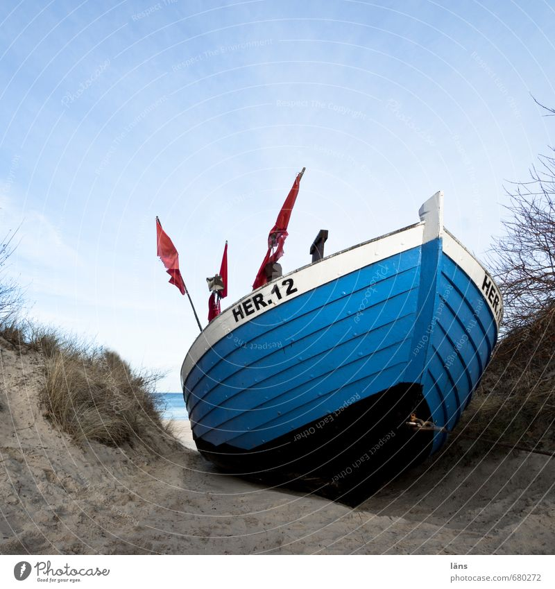 ahoy Work and employment Fisherman Fishery Environment Nature Landscape Sand Water Sky Coast Baltic Sea Fishing boat Lie Blue Brown Beach dune Colour photo