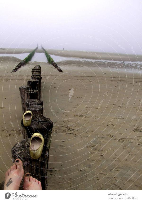 Ocean Beach Clouds Wood Feet Sand Footwear Bad weather Oppressive