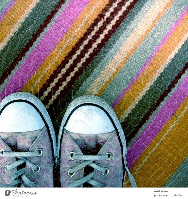 Gray Footwear Orange Flat (apartment) Pink Arrangement Stripe Carpet Tidy up Shoelace