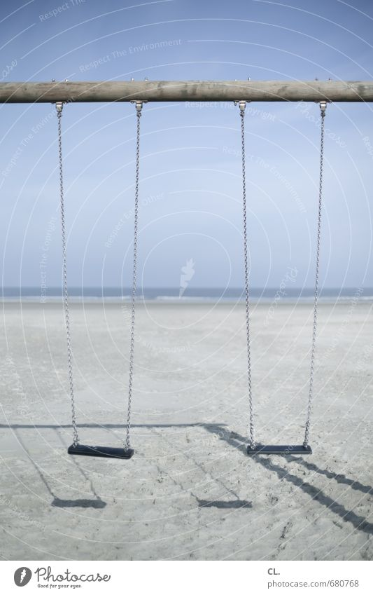 swing Playing Vacation & Travel Tourism Environment Nature Landscape Sand Sky Beautiful weather Coast Beach North Sea Ocean Island Calm Longing Loneliness
