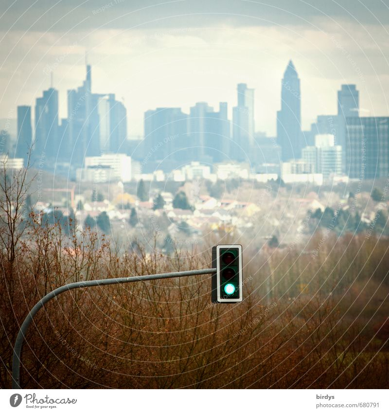 Air pollution control Driving bans Spring Autumn Tree Frankfurt Germany Europe Skyline High-rise Bank building Transport Motoring Traffic light Authentic