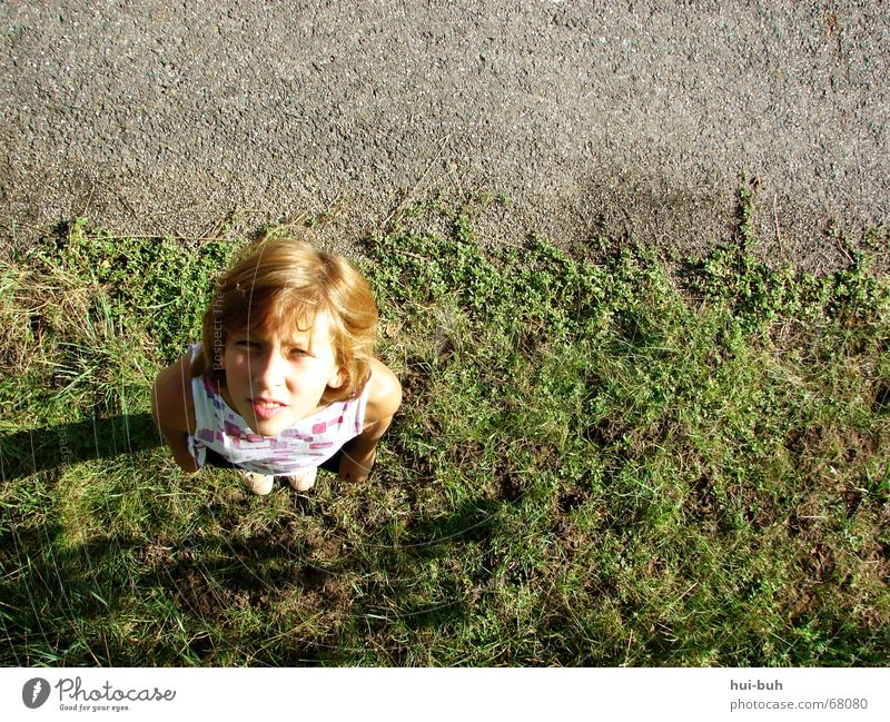 Where's the little bird?! Girl Green Hot Dazzle Direction Gray Red Search Lawn Street Looking Sky Hair and hairstyles reddish Line Shadow