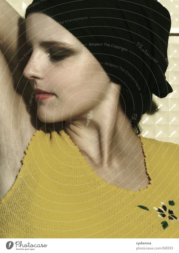 Woman Human being Beautiful Flower Yellow Style Fashion Skin Cosmetics Relationship Odor Go under Headscarf Perfume Armpit Deodorant