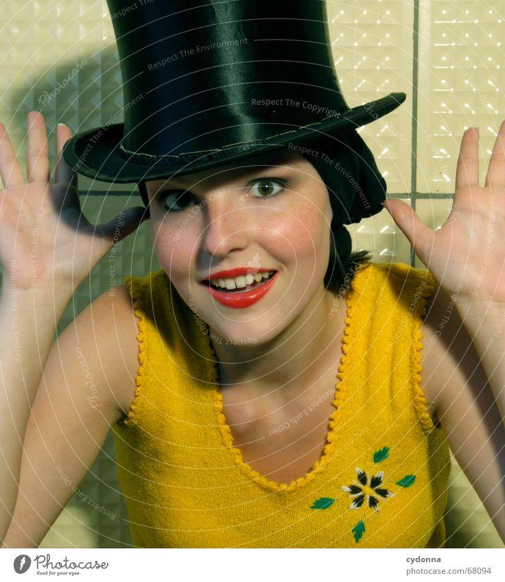 Woman Human being Hand Beautiful Flower Joy Yellow Head Style Fashion Skin Kitsch Cosmetics Facial expression Magic Circus