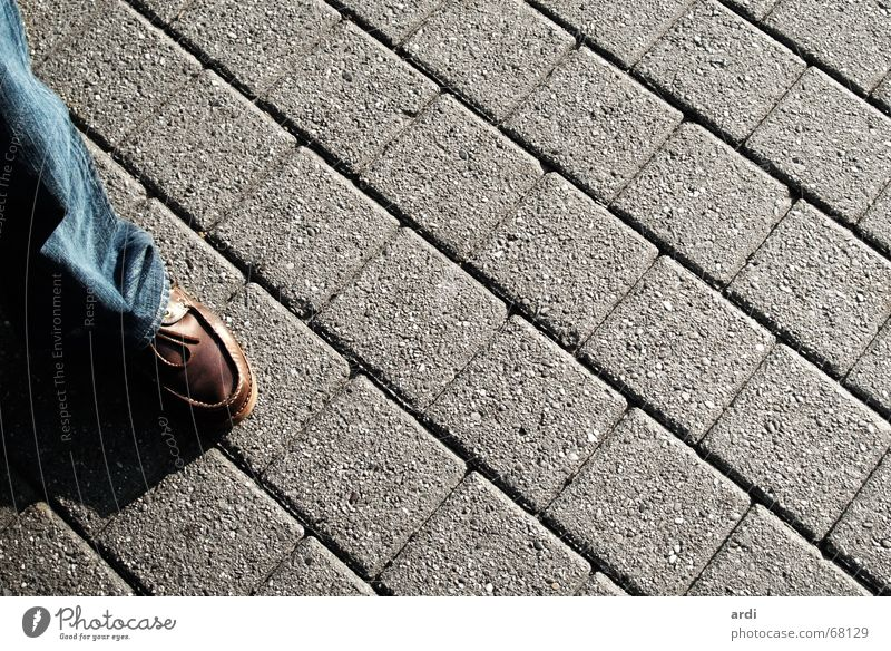 pedestrian Transport Summer Pedestrian Pants Footwear Street Lanes & trails Cobblestones Stone Feet Legs Shadow Stride path way cobblestone town traffic foot