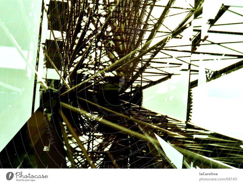 standstill Spreepark Ferris wheel Double exposure Retirement Iron Steel Construction Memory Muddled Calm Level