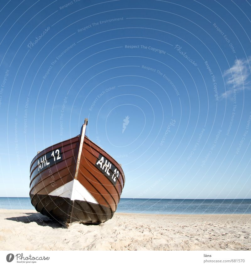 Boat stranded on it l Environment Nature Sand Water Sky Horizon Beautiful weather Coast Beach Baltic Sea Fishing boat Wood Characters Digits and numbers Line