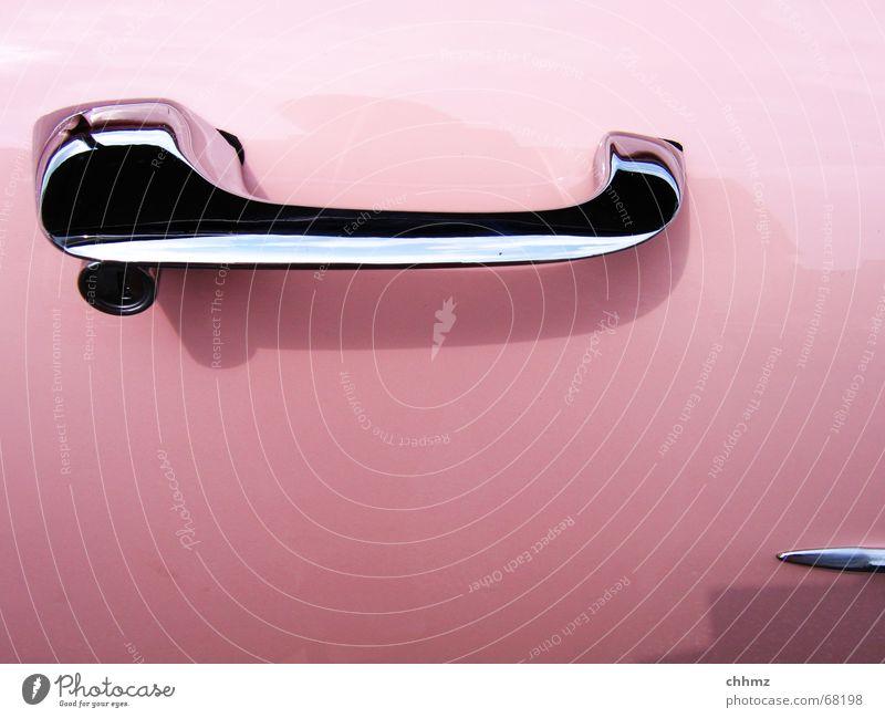 PINk Vintage car Vehicle Nostalgia Americas Convertible Door handle Wood strip Pink Car Amish sleigh cabriolet Plastic Varnish