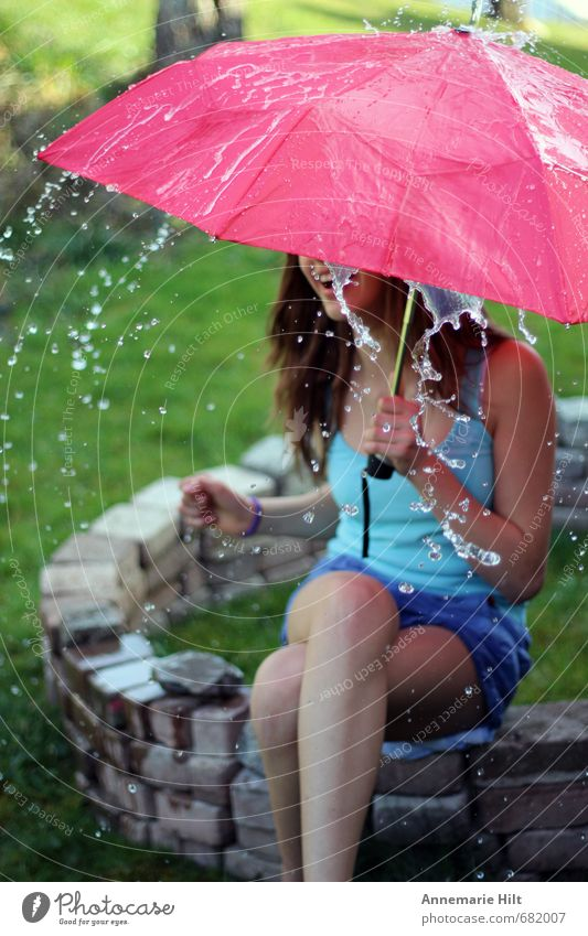 summer rain Joy Fitness Summer Sun Feminine Girl 1 Human being 8 - 13 years Child Infancy Drops of water Happy Happiness Contentment Joie de vivre (Vitality)