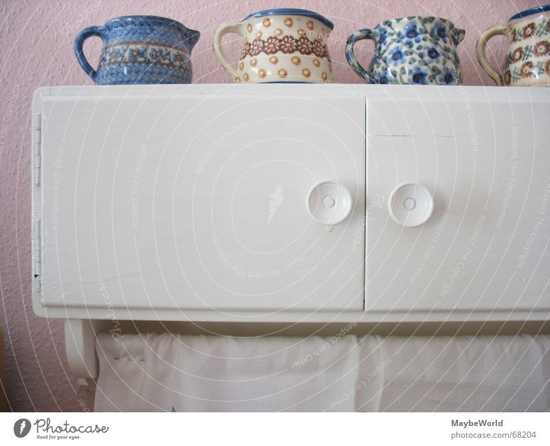 Old White Pink Kitchen Cupboard Water jug Wall cupboard