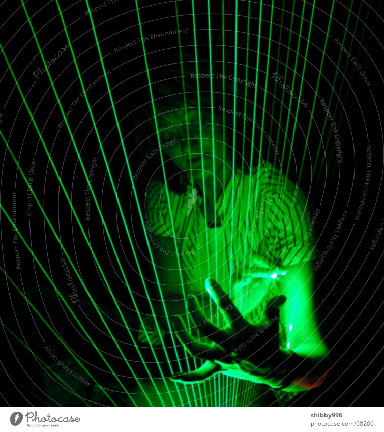Laser harp with model Green Light Music Dream Industrial Photography Lamp heaven beams dreams Lighting lasers laserlight