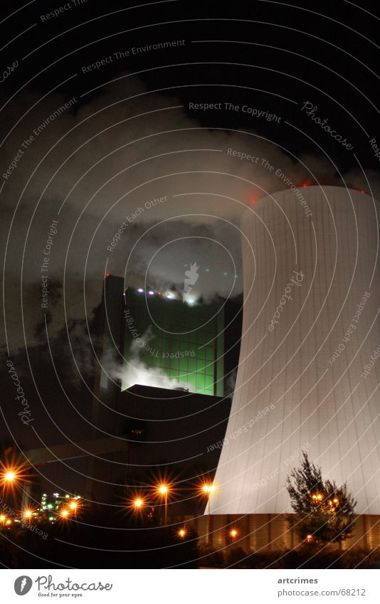 Color Industries Factory Lantern Play of colours Long exposure Fog Threat Might Smoke Industrial Photography Gigantic Technology Cooling tower