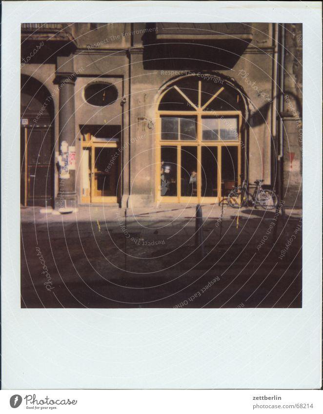Polaroid XII Facade Gastronomy Café Empty Raw Window Shop window Street Roadhouse New outdoor advertising Door Berlin