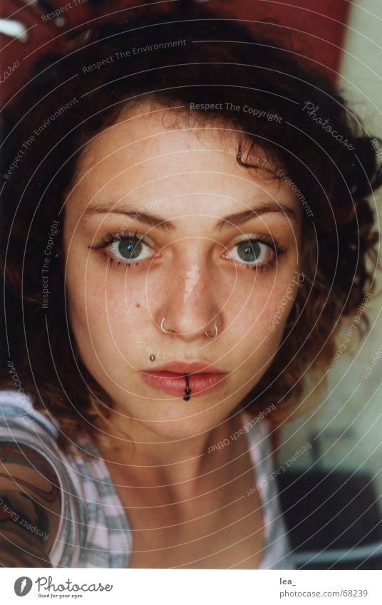 Woman Face Eyes Feminine Mouth Nose Near Exceptional Portrait photograph Tattoo Curl Self portrait Piercing Striped